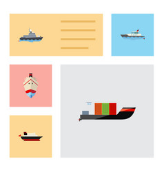 flat icon boat set of tanker ship delivery and vector image