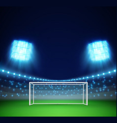 Football stadium with lights and tribunes vector