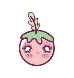 Kawaii shy tomato vegetable icon vector