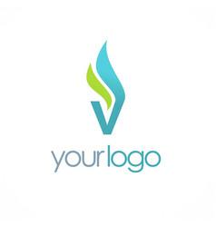 letter v vapor logo vector image