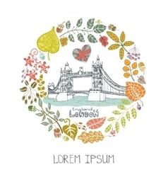 London landmarkautumn leaves wreathtower bridge vector