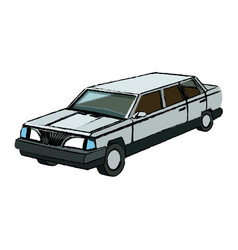 Luxury vehicle stretch car limousine view vector
