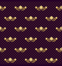 ornate seamless pattern golden flowers and polka vector image
