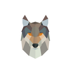 polygonal wolf head low poly animal vector image