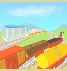 railway concept cartoon style vector image