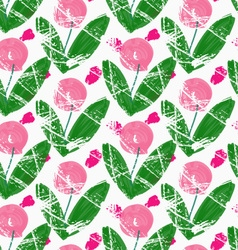 Rough brush pink roses with green leaves vector image
