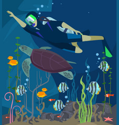 scuba diving sea life vector image vector image