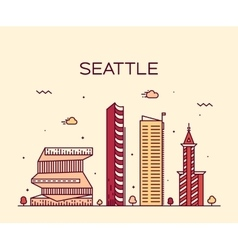 Seattle skyline trendy linear vector image vector image