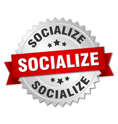 socialize round isolated silver badge vector image vector image