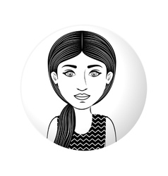 Sphere half body woman with ponytail hair vector