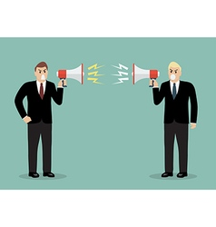 Two angry businessman are shouting on each other vector