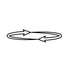 two arrows on the circle angle 360 black icon vector image
