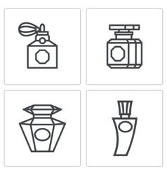 Vintage perfume icons set vector