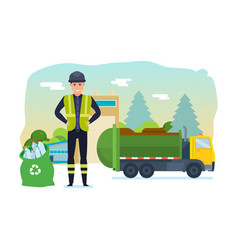 worker collect garbage in truck take him out city vector image