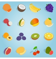 Fruit set icons isometric 3d style vector