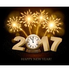 Happy new year background with 2017 a clock and vector