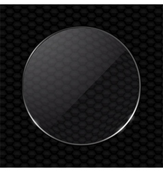 Glass lens on black honeycomb background vector
