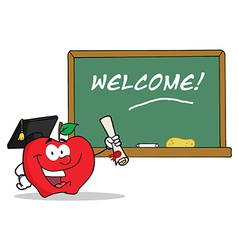Graduate apple character holding a diploma vector