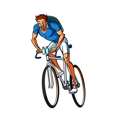 Side view of man riding bicycle vector