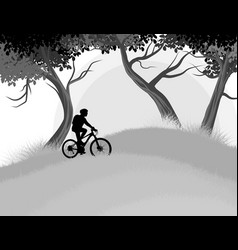 Cycling woman in the forest vector
