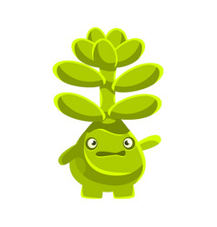 Cute worried succulent emoji cartoon emotions vector