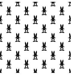 Pattern with black rabbits vector