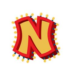 letter n lamp glowing font vintage light bulb vector image