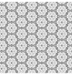 Seamless geometric lines black and white hexagon vector