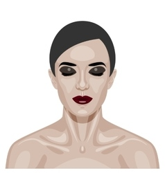 Beauty woman face with smoky eyes vector