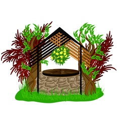 Landscape design with wooden decoration vector