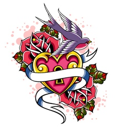 swallow and rose design vector image