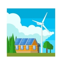 House with wind turbine vector