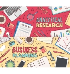 Flat business planning analytical research vector