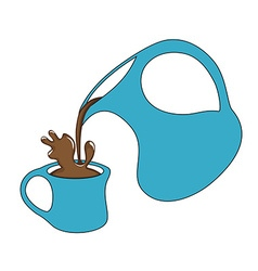 Coffee pouring from a jug with a splash vector image