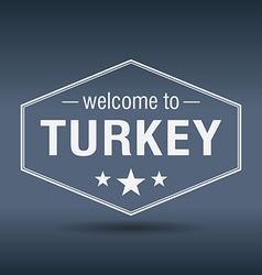 Welcome to turkey hexagonal white vintage label vector