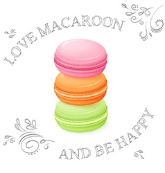 Three realistic isolated sweet macaroon - with vector