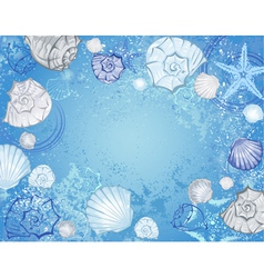 blue background with sea shells vector image