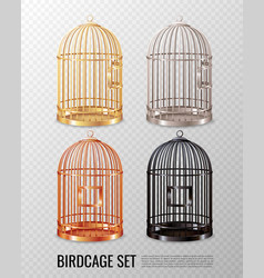 Canary birdcage 3d set vector