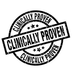 Clinically proven round grunge black stamp vector