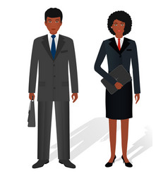 couple of business african american man and woman vector image