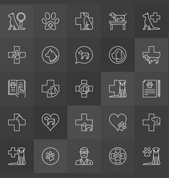 dog hospital outline icons vector image vector image