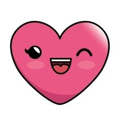 Emoticon heart kawaii style icon vector