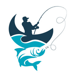 fishing design fisherman catches from the boat on vector image