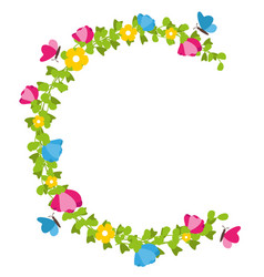 Floral wreath with butterflies spring concept vector