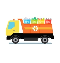 Garbage Truck with Trash vector image