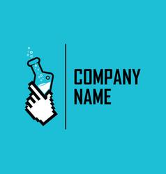 Hand lab pixel logo vector