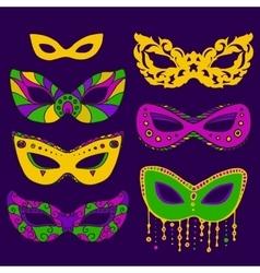 mardy gras mask set vector image