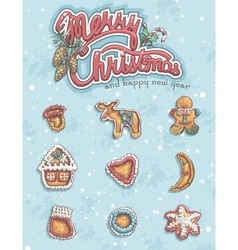 Merry Christmas greeting card with items vector image