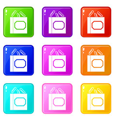Paper clips box icons 9 set vector