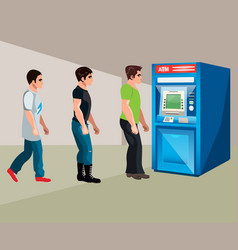 people stand at the cash machine vector image vector image